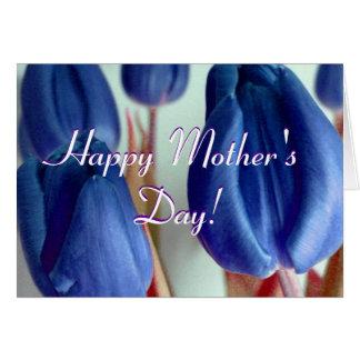 Glückliche blaue Tulpen der Mutter Tages Karte