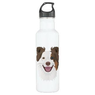 Glückliche Border-Collie Gesicht der Illustration Edelstahlflasche