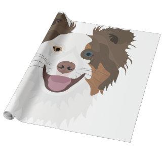 Glückliche Border-Collie Gesicht der Illustration Geschenkpapier