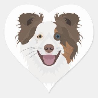 Glückliche Border-Collie Gesicht der Illustration Herz-Aufkleber