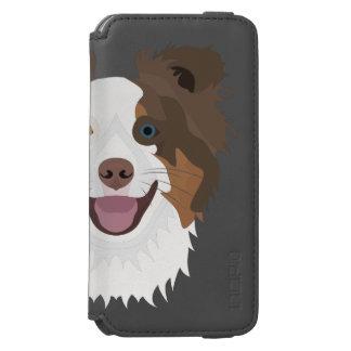 Glückliche Border-Collie Gesicht der Illustration Incipio Watson™ iPhone 6 Geldbörsen Hülle