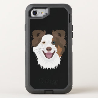 Glückliche Border-Collie Gesicht der Illustration OtterBox Defender iPhone 8/7 Hülle