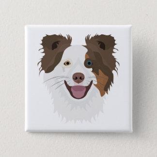 Glückliche Border-Collie Gesicht der Illustration Quadratischer Button 5,1 Cm
