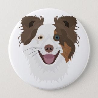 Glückliche Border-Collie Gesicht der Illustration Runder Button 10,2 Cm