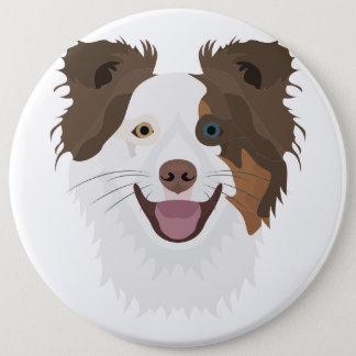 Glückliche Border-Collie Gesicht der Illustration Runder Button 15,3 Cm