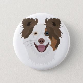 Glückliche Border-Collie Gesicht der Illustration Runder Button 5,7 Cm