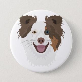 Glückliche Border-Collie Gesicht der Illustration Runder Button 7,6 Cm