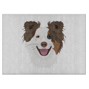 Glückliche Border-Collie Gesicht der Illustration Schneidebrett