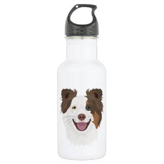 Glückliche Border-Collie Gesicht der Illustration Trinkflasche