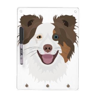 Glückliche Border-Collie Gesicht der Illustration Trockenlöschtafel