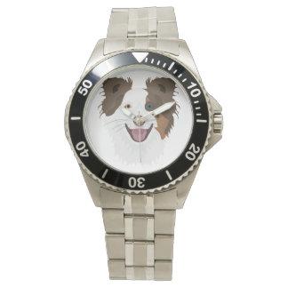 Glückliche Border-Collie Gesicht der Illustration Uhr