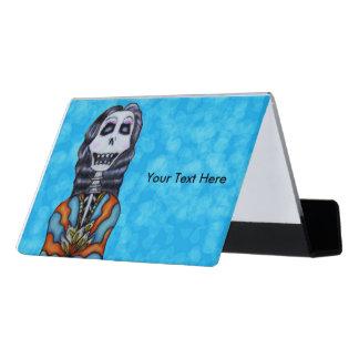 Glückliche bunte Dame Tag des toten Skeleton Schreibtisch-Visitenkartenhalter