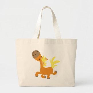 Glückliche Cartoon-Pony-Tasche Jumbo Stoffbeutel