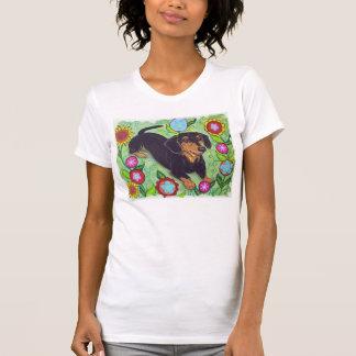 Glückliche Dackel in Garten-Blumen T-Shirt