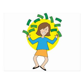 Glückliche Dame und Geld Postkarte