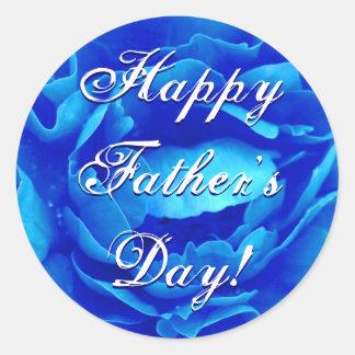 Glückliche der Vatertags-Blau-Rose Runder Aufkleber