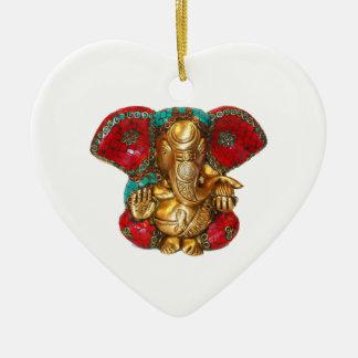 Glückliche DIWALI - Danke GANAPATI Ganesh Keramik Herz-Ornament