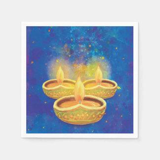 Glückliche Diwali handgemalte aufschlussreiche Papierservietten