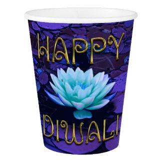 Glückliche Diwali Typografie-lila Pappbecher
