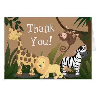 Glückliche Dschungel-Tiere danken Ihnen zu Karte