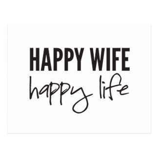 Glückliche Ehefrau-glückliches Leben Postkarte
