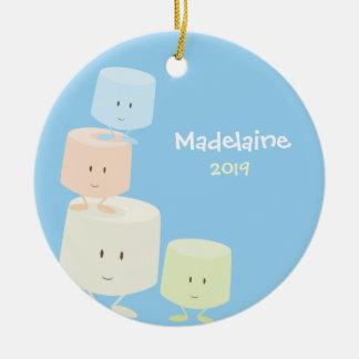 Glückliche Eibisch-Weihnachtsverzierung Keramik Ornament