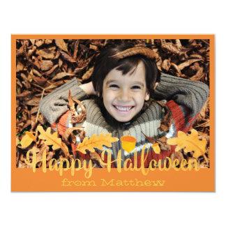 Glückliche Eichel-Foto-Karte Halloweens orange 10,8 X 14 Cm Einladungskarte