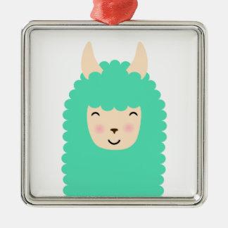 Glückliche Emoji Lama-Weihnachtsverzierung Silbernes Ornament