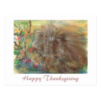 Glückliche Erntedank-Stachelschwein-Grafik Postkarte
