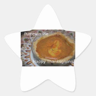 Glückliche Erntedank-und Kürbis-Torte Stern-Aufkleber