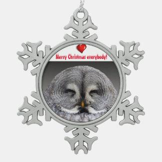 Glückliche Eulenwünsche Schneeflocken Zinn-Ornament