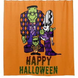 Glückliche Familie Halloweens Frankenstein Duschvorhang