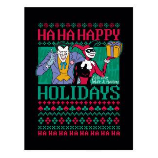 Glückliche Feiertage Joker u. Harley Quinn des Postkarte