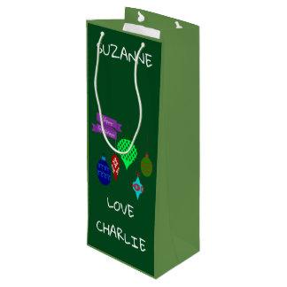 Glückliche Feiertage und hängende Verzierungen Geschenktüte Für Weinflaschen
