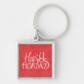 Glückliche Feiertage - Vintag Silberfarbener Quadratischer Schlüsselanhänger