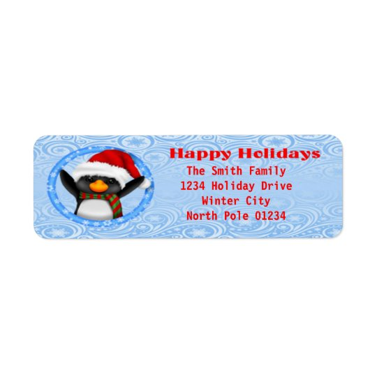 Glückliche Feiertageniedlicher Penguin Rücksende Aufkleber