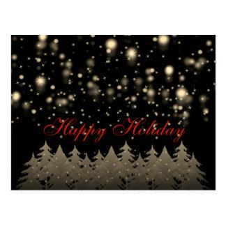 Glückliche Feiertags-Goldsternenklare Postkarte
