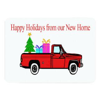 Glückliche Feiertags-neues Zuhauseauto und -baum 12,7 X 17,8 Cm Einladungskarte