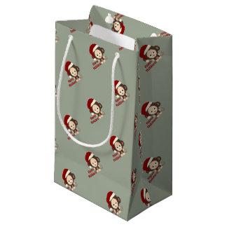 Glückliche Feiertags-niedlicher Sankt-Affe Kleine Geschenktüte