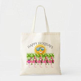 Glückliche Feiertags-rosa Flamingo-Tasche Tragetasche