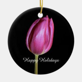 Glückliche Feiertags-rosa Tulpe-Blumen-BlumenFotos Rundes Keramik Ornament