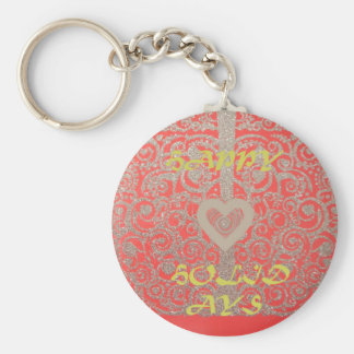 Glückliche Feiertags-roter Glitterherzentwurf Schlüsselanhänger