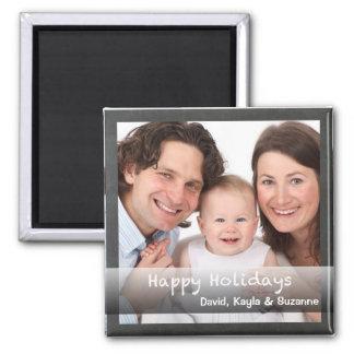 Glückliche Feiertags-Tafel personalisiert mit Foto Quadratischer Magnet