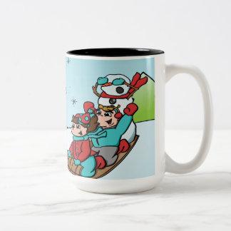 Glückliche Feiertags-Tasse Zweifarbige Tasse