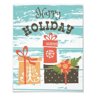 Glückliche Feiertags-Weihnachtsfeiertags-Geschenke Fotodruck