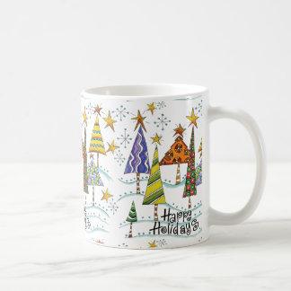 Glückliche Feiertags-WeihnachtsTasse mit Bäumen Tasse