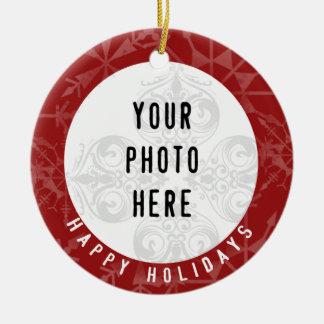 Glückliche Foto-Rot-Schneeflocke der Feiertags-2 Keramik Ornament