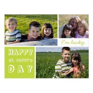 Glückliche Fotos St. Patricks Tagdrei grünen Weiß Postkarte