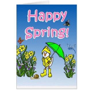 Glückliche Frühlingsregen-Ente Grußkarte