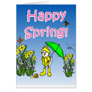 Glückliche Frühlingsregen-Ente Karten